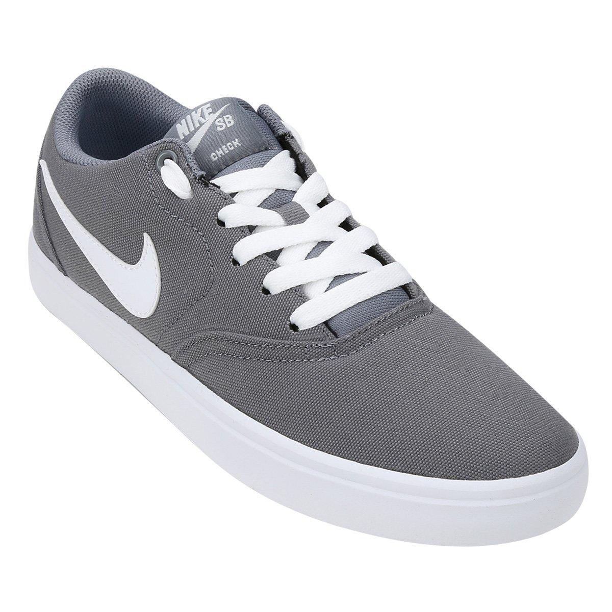 be55fda37e8 Tênis Nike Wmns Sb Check Solar Cnvs Feminino - Cinza e Branco - Compre  Agora