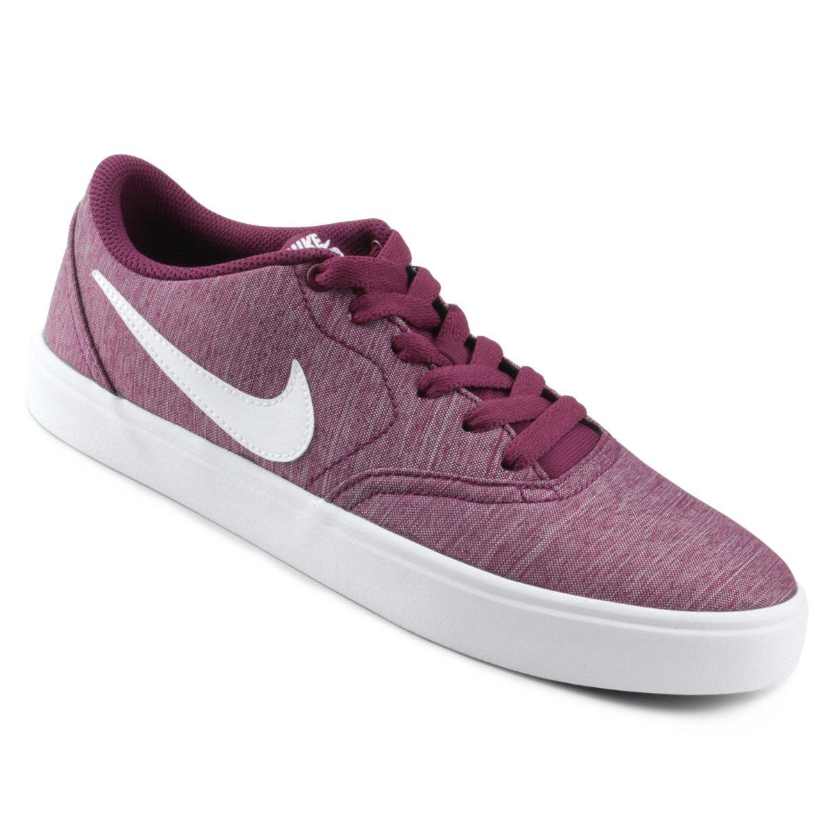413d1778b Tênis Nike Wmns Sb Check Solar Cvs P Feminino - Vinho e Branco - Compre  Agora